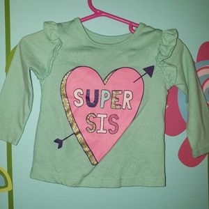 Girls Green Long Sleeve Sister Shirt
